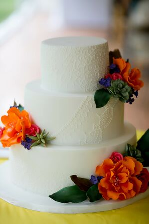 Tiered Cake with Indian Pattern and Bright Fondant Flowers