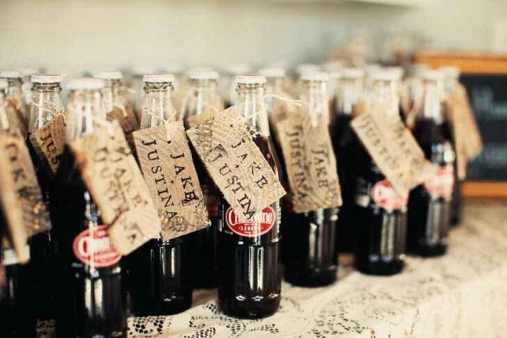 Glass bottles of Cheerwine were given to the guests as favors.