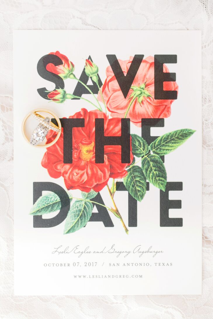 Botanical Save the Date with Bold Typography