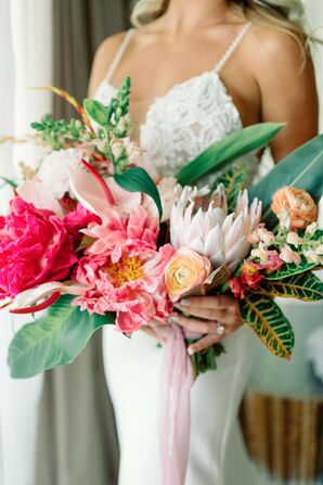 Tropical Bouquet With Leaves, Ranunculus, Anthurium and Protea