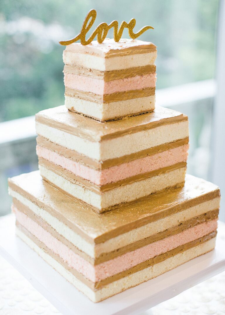 Square-shaped gold and pink naked cake design