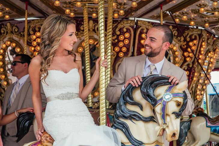 Neither the Jersey Shore's wind nor a ride around the boardwalk carousel could harm Kristie's gorgeous look. Chic Blowout Bar styled her with tons of refined, beachy curls that matched their setting. Her natural makeup only enhanced the look for their wedding at the Stateroom in Long Beach, New Jersey.