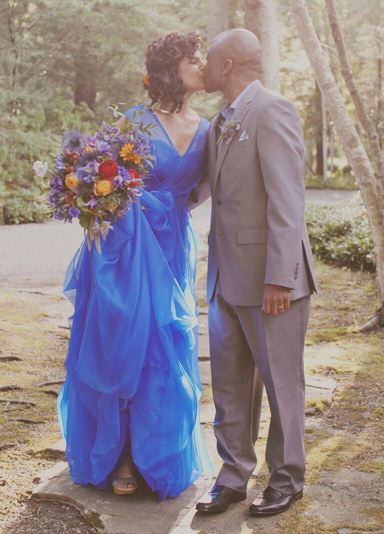 bride in a cobalt blue wedding dress