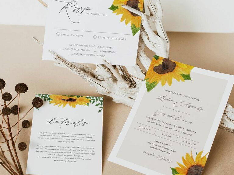 downloadable wedding invitation with sunflowers