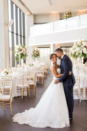 Bride and Groom Portraits at Penthouse Wedding in Boston