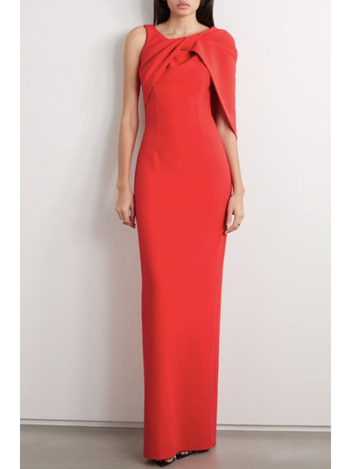 Red column evening gown with asymmetrical neckline