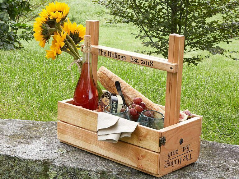 wooden picnic basket wine carrier