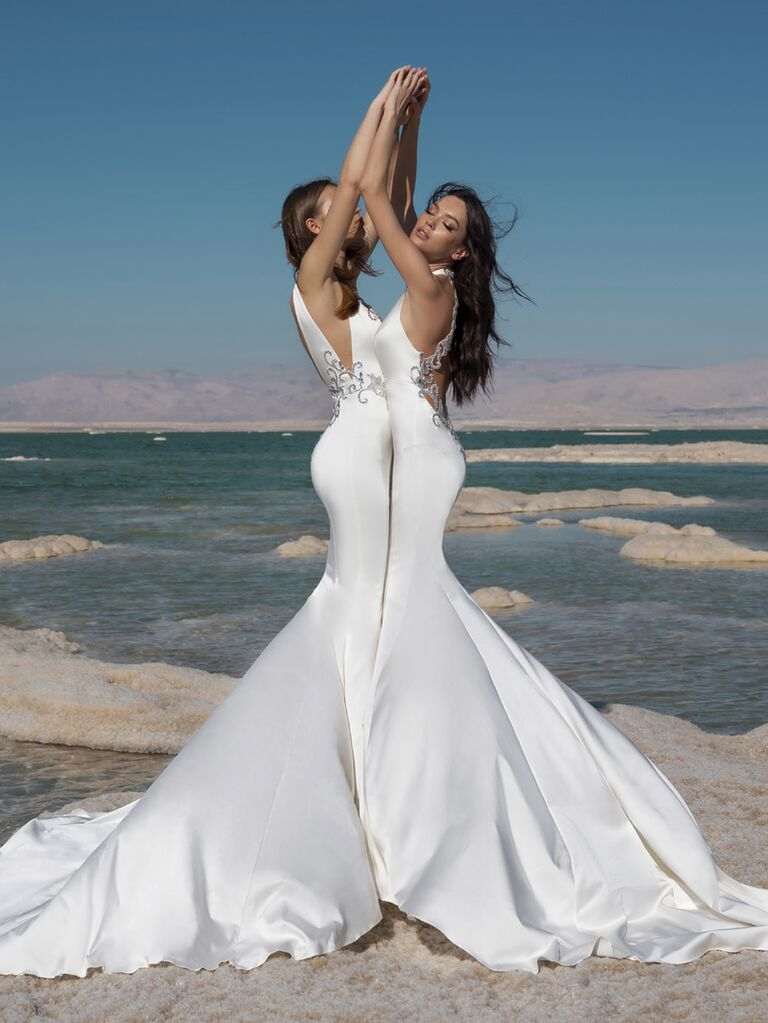 Pnina Tornai Spring 2020 Bridal Collection silk mermaid wedding dress with silver embroidery and dramatic back