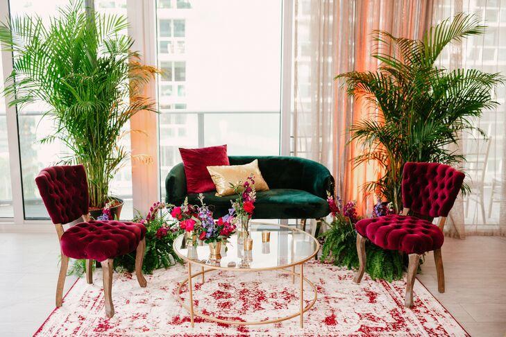 Jewel-Tone Lounge Seating for Wedding in Miami, Florida