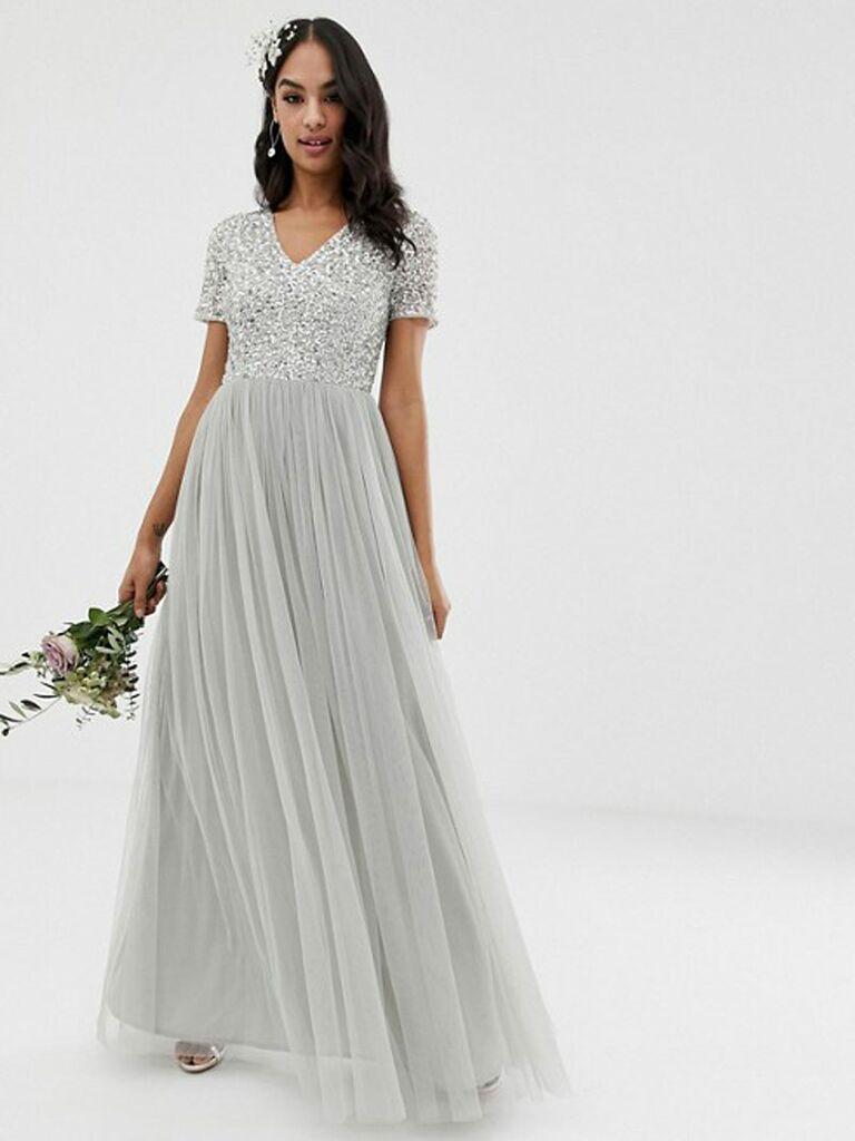 Silver sequin Maya spring bridesmaid dress