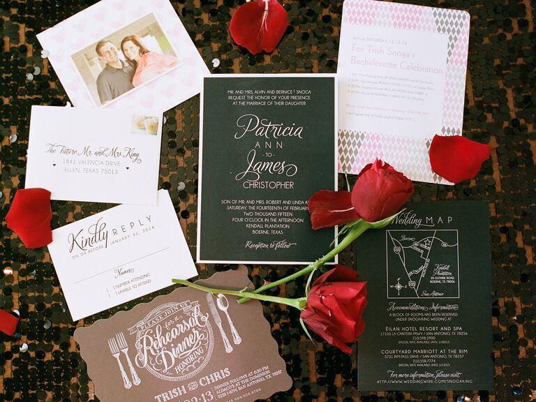 Romantic Valentines Day Wedding Invitation Suite