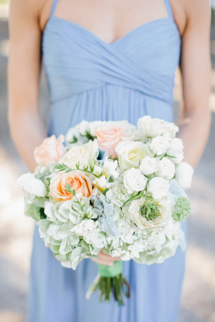Pastel Hydrangea and Rose Bridesmaid Bouquets