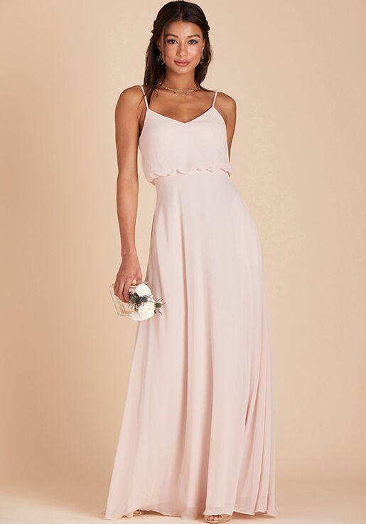 Birdy Grey Gwennie Bridesmaid Dress in Pale Blush V-Neck Bridesmaid Dress
