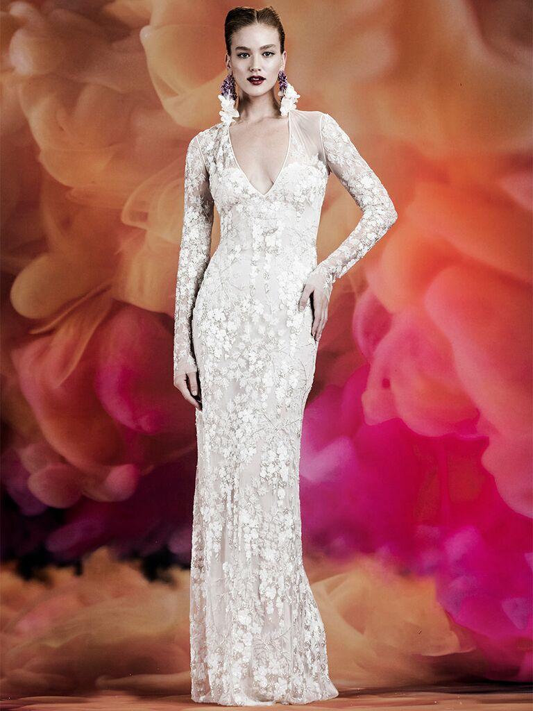 Naeem Khan wedding dress long-sleeve lace trumpet gown