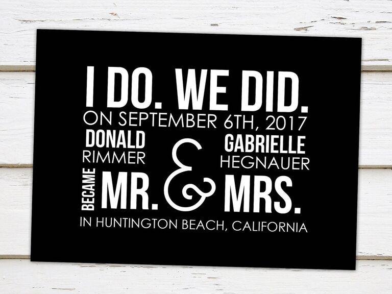 Mellie Bellie Boutique printable wedding or elopement announcement