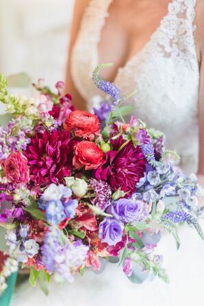 Jewel-Tone Bouquet with Roses, Dahlias and Veronica