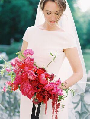 Modern, Short-sleeve Wedding Dress with Striking Fuchsia Peony, Sweet Pea and Amaranthus Bouquet