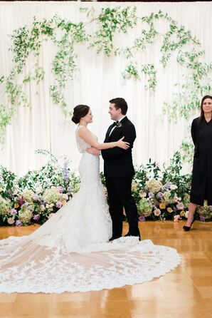 Classic Bride and Groom with Greenery Ceremony Backdrop