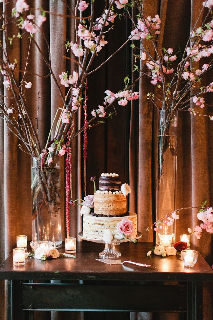 Cake Display with Cherry Blossom Décor