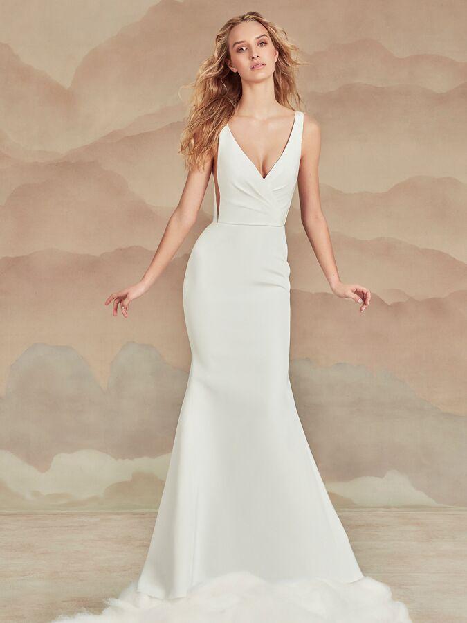 Ines Di Santo V-neck trumpet wedding dress