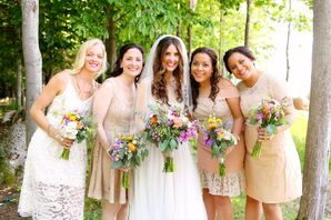 Mismatched Nude Lace Bridesmaid Dresses