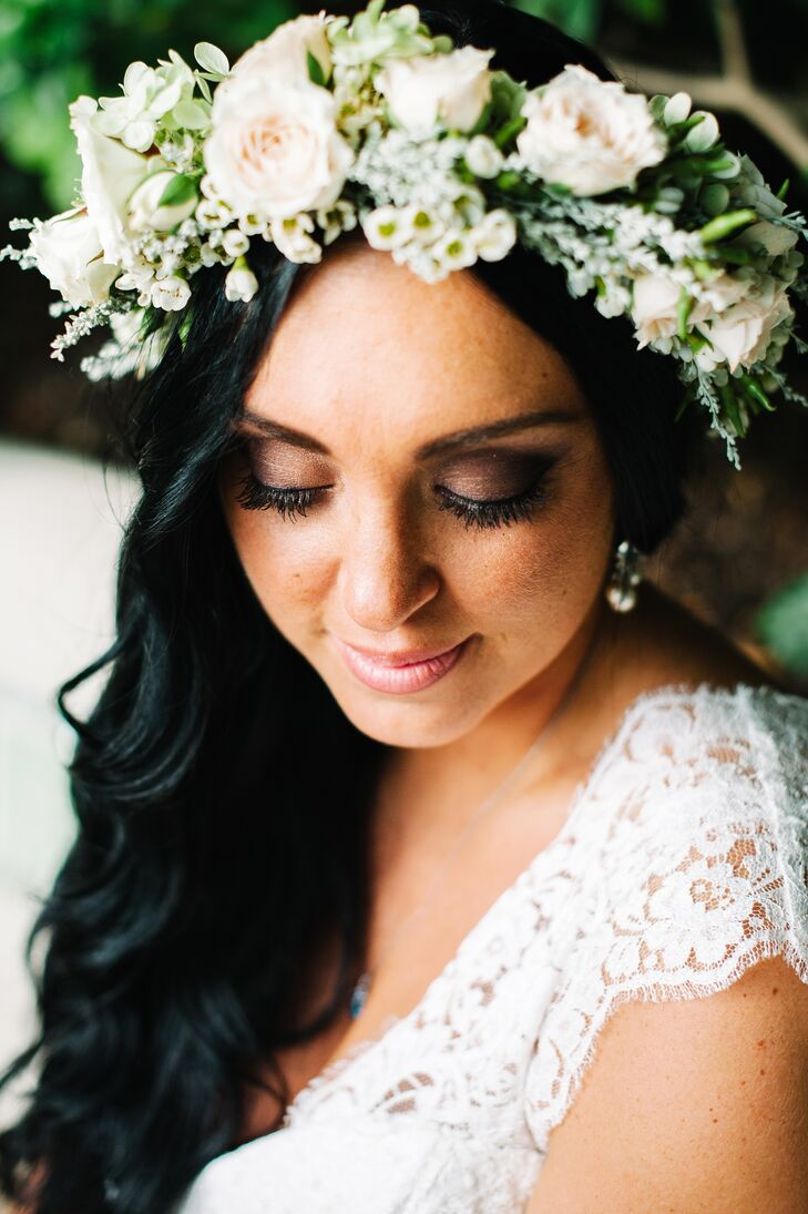 Bride White and Green Flower Crown