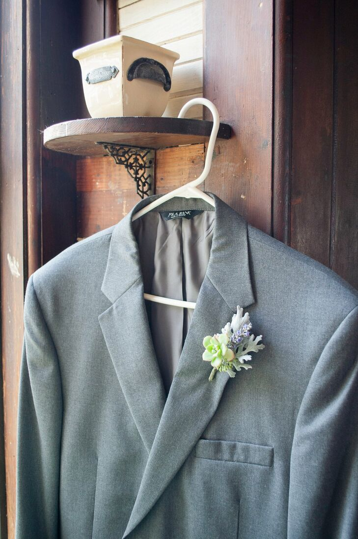 The men wore small succulents accented with lavender and dusty miller pinned to their lapels.