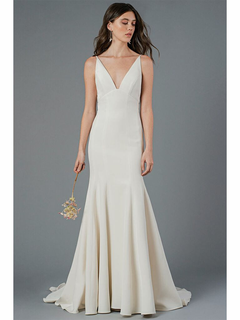 Jenny Yoo wedding dress trumpet gown with v-neck