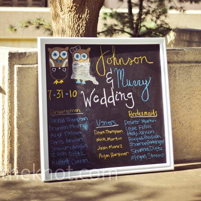 Instead of traditional programs, this chalkboard sign listed the attendants' names. A bridesmaid added in the two owls!