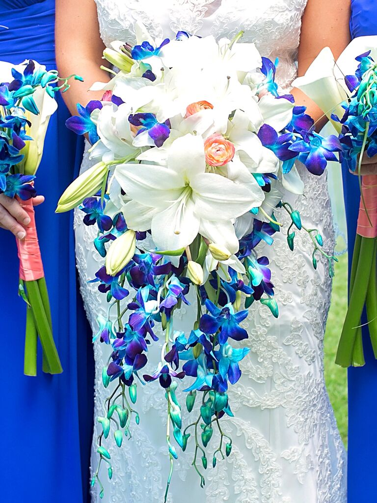 Blue and white cascading wedding bouquet