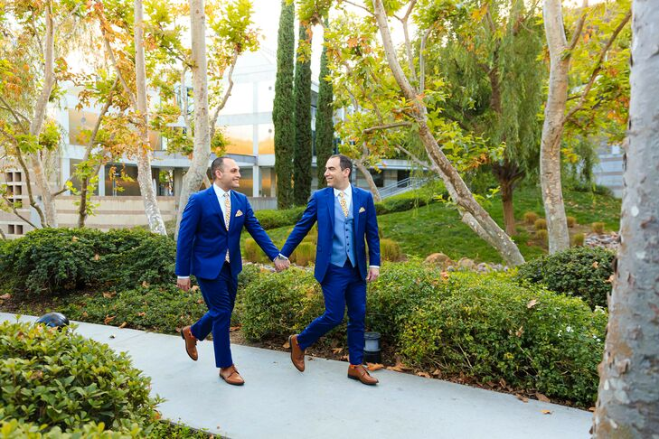 Modern Grooms with Matching Royal-Blue Suits and Brown Shoes