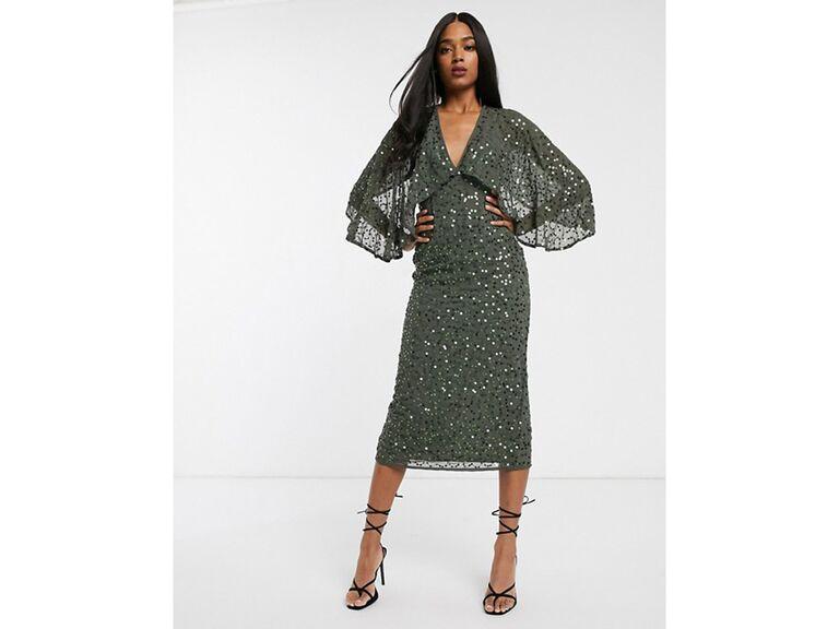 Khaki green midi dress with kimono cape sleeves and sequins
