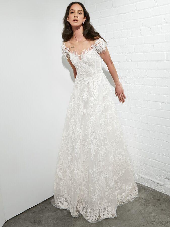Rivini off-the-shoulder A-line wedding dress
