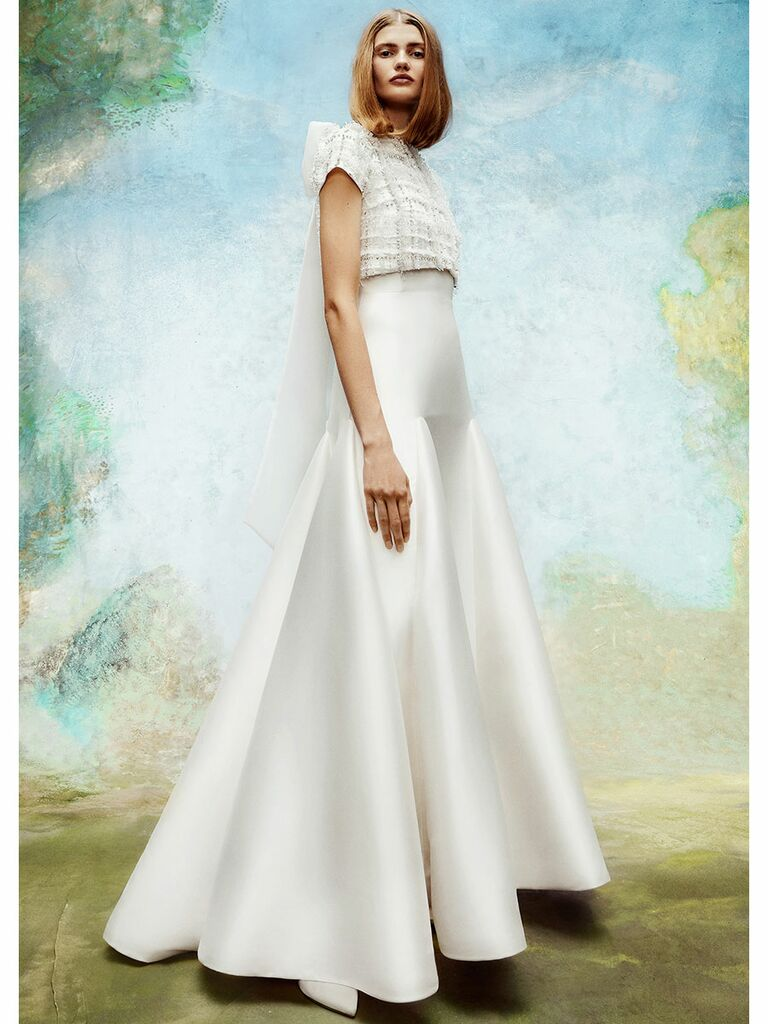 Viktor&Rolf wedding dress tweed trumpet gown with back bow