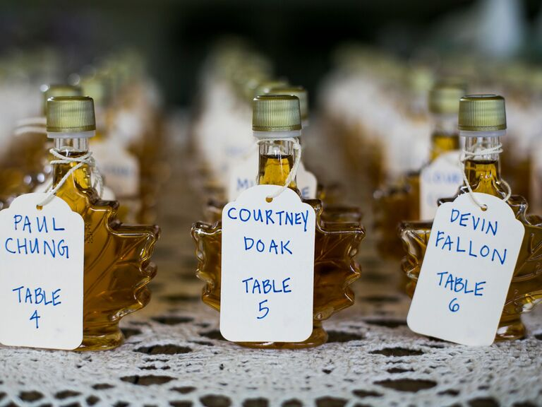 Vermont-Made Maple Syrup Escort Cards