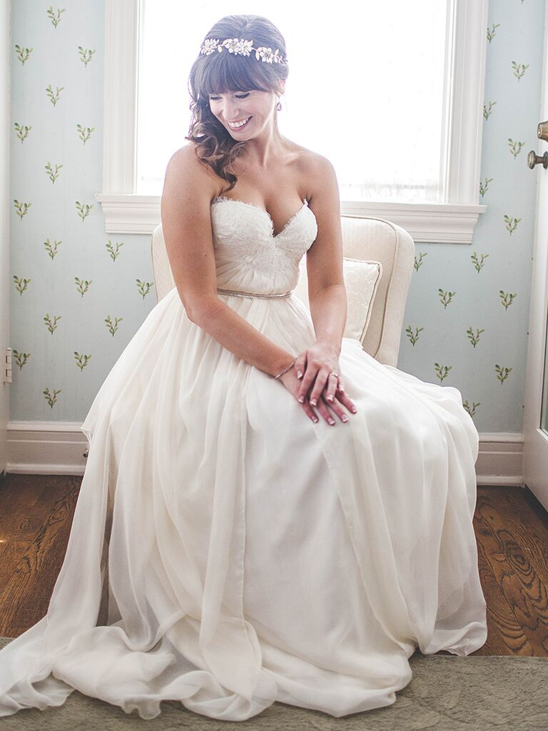 Shoulder-length curls with a hair crown wedding hairstyle