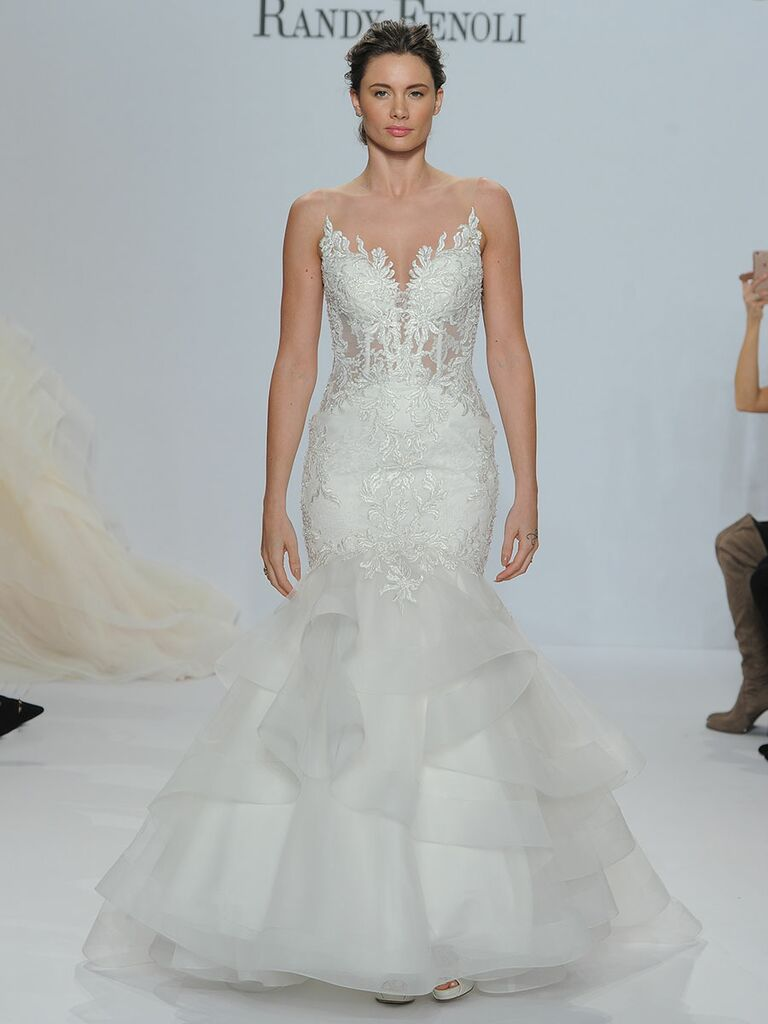 Randy Fenoli Spring 2018 mermaid wedding dress of Chantilly lace, sheer yoke, bodice and midriff with tonal beaded Venice lace appliqués and horsehair trimmed tulle bottom