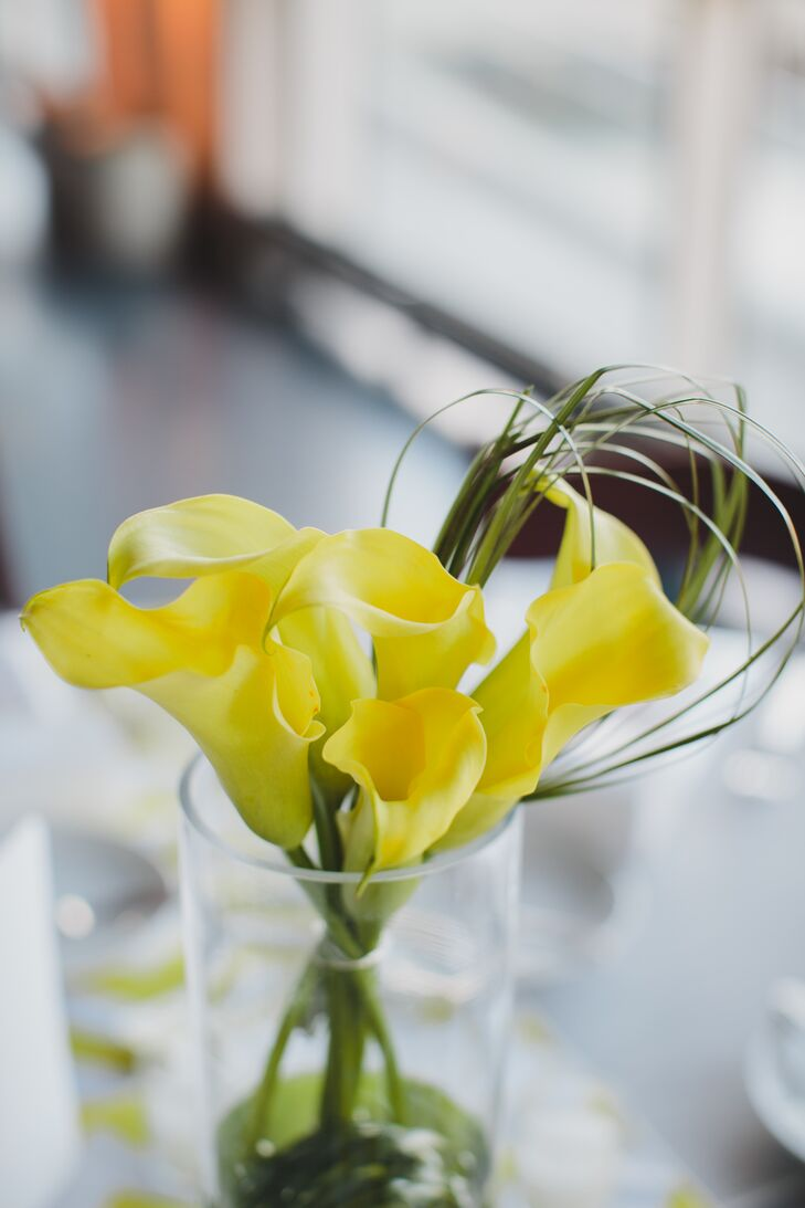 "When it came to their decor, Joey and Michael didn't want to complete with the fish at  to compete with the fish at the South Carolina Aquarium, so they opted for simple and chic look. ""Our florist helped us design the perfect calla lily and daisy centerpieces that enhanced the venue,"" says Joey."