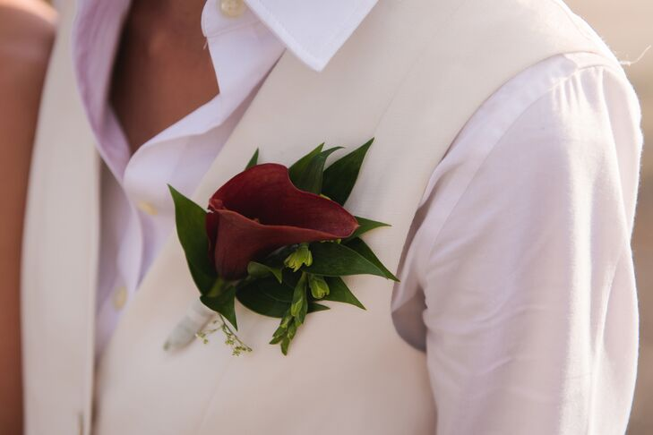 A Deep Red Southwestern Calla Lily Boutonniere