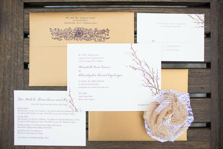 The white invitations were designed with purple budded branches. The brown envelopes had purple markings on the back flap that also portrayed a floral design.