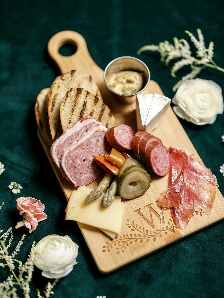 Individual charcuterie spread at bridal shower