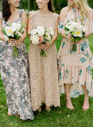 Bridesmaids in Preppy Mismatched Patterned Dresses