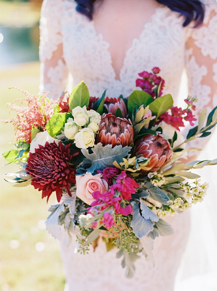 Exotic Pink and Green Bridal Bouquet of Snapdragons, Lamb's Ear and Proteas