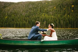 Couple in Canoe After Eloping