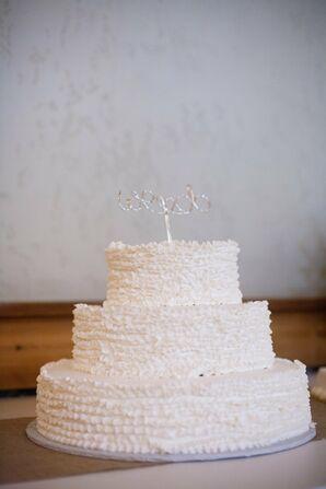Ruffled White Wedding Cake