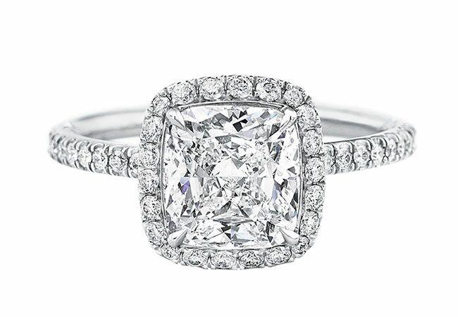 Harry Winston Cushion Cut Micropave Diamond-Engagement Ring