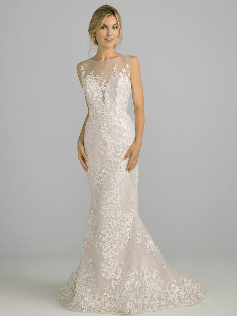 Azul by Liancarlo Fall 2018 wedding dresses floral embroider with sheer neckline