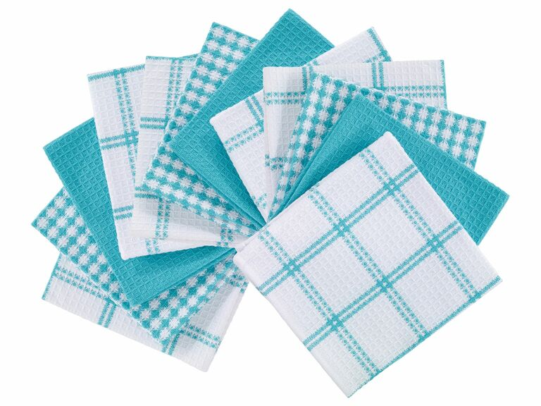 turquoise blue and white dish towels