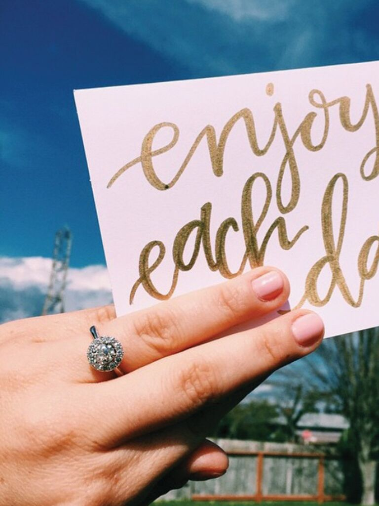 Engagement ring selfie idea with a quote