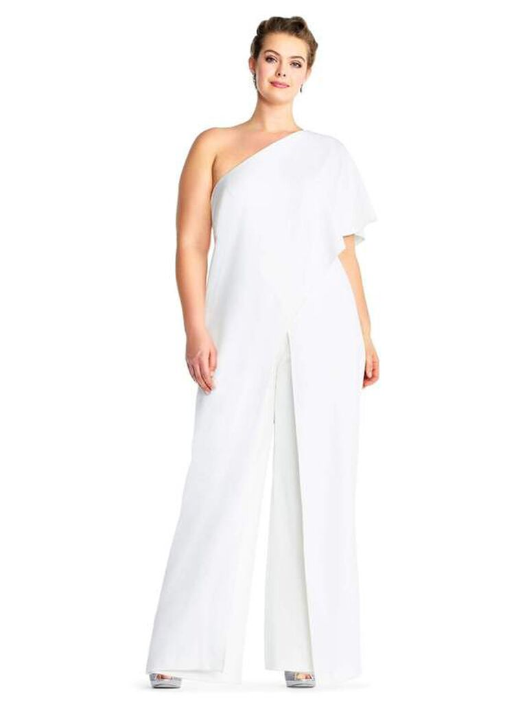 White jumpsuit with flutter one-sleeve